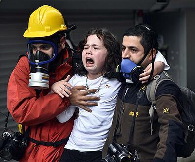 Evdeki çocuklar biber gazından etkilendi (video)