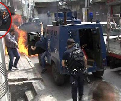 Zırhlı araca molotof kokteyli atıldı, polis havaya ateş açtı (video)