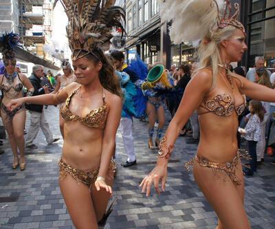 Kopenhag'daki karnaval Rio'yu aratmadı