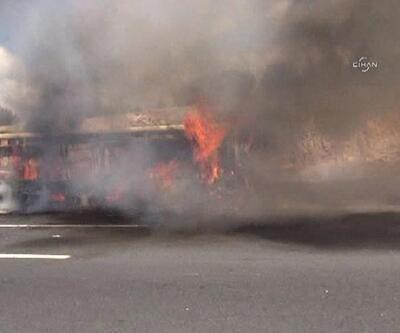 TEM'de halk otobüsü seyir halindeyken yandı