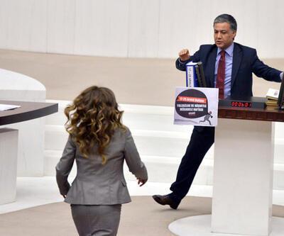 CHP'li vekil o pankartı asınca AK Partili kadın vekil kürsüye koştu