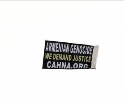 ''Ermeni Soykırımı'' yazan pankartla şehrin üstünde gezdiler