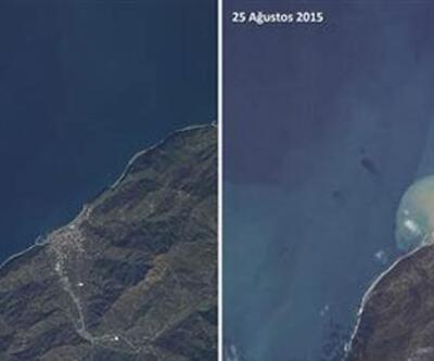 Artvin'deki sel felaketi uydudan görüntülendi