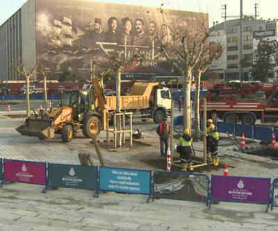 """Taksim Meydanı """"yeşilleniyor"""""""