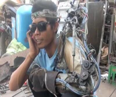 Felçli işçi hurdalardan kendisine biyonik kol yaptı