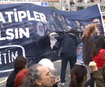 Eylemcilerden pankarta 'Erdoğan' ayarı
