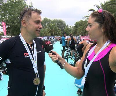 Cem Yılmaz ve Nevşin Mengü'nün triatlon heyecanı