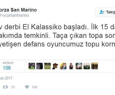 Forza San Marino hesabının attığı tweet'lerle San Marino-Andorra maçı