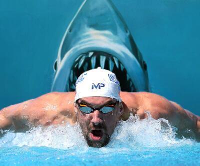 Michael Phelps'in tek rakibi köpek balığı