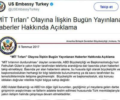 ABD Büyükelçiliği'nden 'MİT tırları' açıklaması