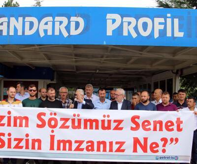 İşten çıkarılan 144 işçi işyeri önünde eylem yaptı