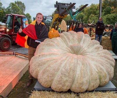 Avrupa'nın en ağır kabağı tam 1008 kilo