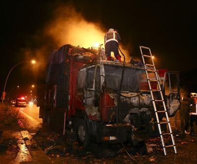 Ankara'da kamyon seyir halindeyken cayır cayır yandı