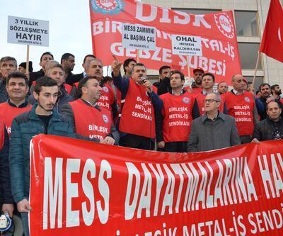 Gebze'de metal işçilerinden protesto
