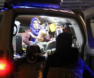 Ateşlenen Umut bebeğe paletli ambulans 3 saatte ulaştı