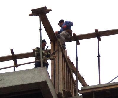 10 katlı inşaatta tehlikeli çalışma