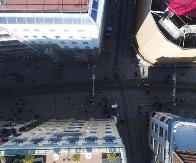 Havadan görüntülerle İstiklal Caddesi'nin yeni hali