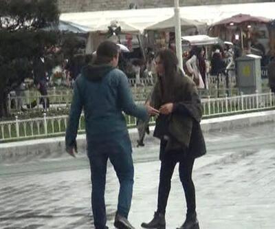 Taksim'de 'kadına şiddet' deneyi yapıldı, sadece bir kişi 'Dur!' dedi