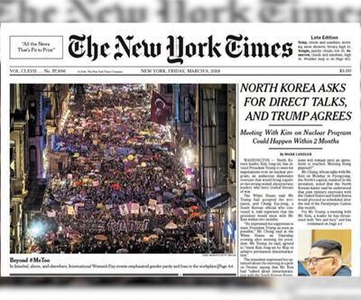 New York Times Taksim'deki yürüyüşü manşetine taşıdı