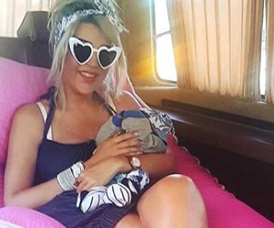 Nazlı Hamarat 5 günlük bebeğiyle bakımda