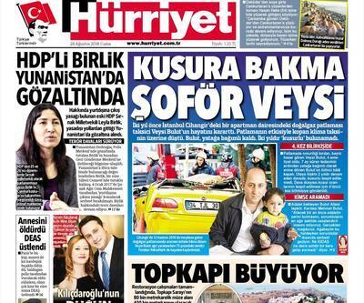 24 Ağustos 2018 - Gazetelerin birinci sayfaları