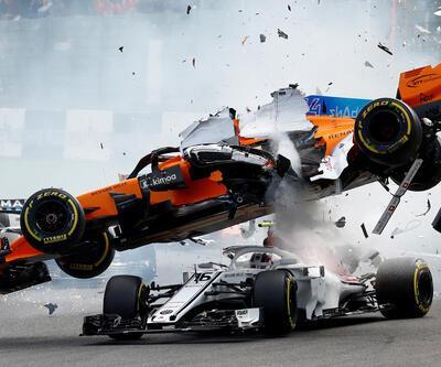 Fernando Alonso'nun aracı uçtu, ortalık karıştı