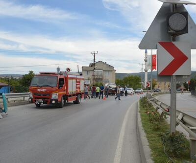 Sinop'ta takla atan otomobilin sürücüsü yaralandı