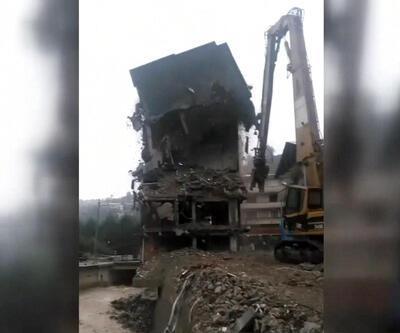 Rize'deki 7 katlı bina böyle yıkıldı