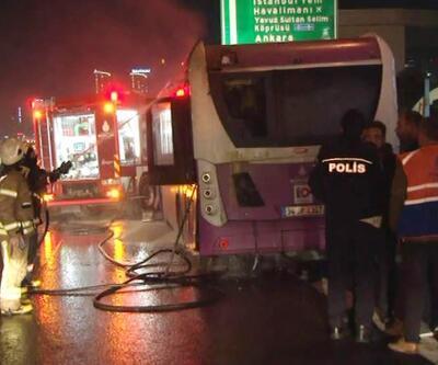 Belediye otobüsü TEM'de alev aldı