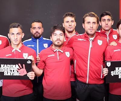 Yılport Samsunsporlu oyuncular 'Kadına Şiddete Hayır' dedi