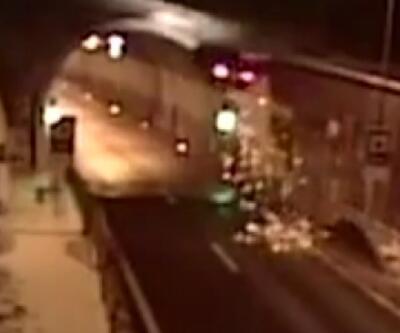 Slovakya'da kaza yapan araç tünelin tavanına uçtu