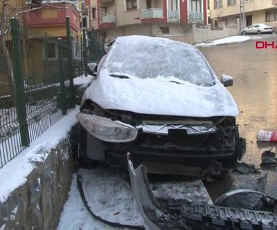 Otomobil binanın bodrum katına girdi