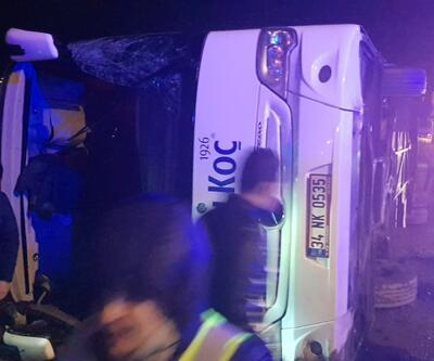 Yalova'da yolcu otobüsü devrildi
