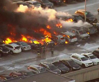ABD'de havaalanı otoparkında yangın