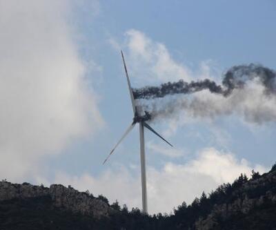 Hatay'da rüzgar türbininin motorunda yangın