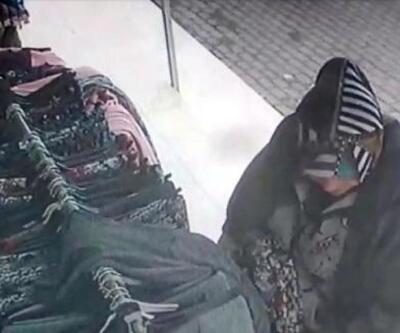 Mağaza önündeki etekleri çalan kadın kameradan yakalandı
