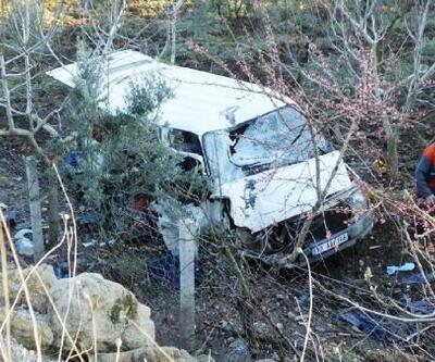 Meyve bahçesine uçan kamyonetin sürücüsü yaralandı