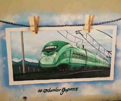 Yüksek hızlı tren grafitisi Twitter'da TT oldu