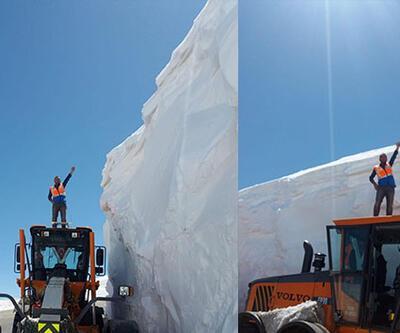Nisan sonunda 5 metrelik karla mücadele