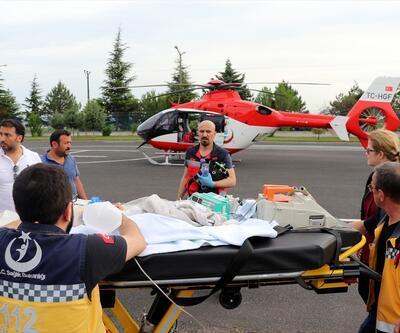 Ambulans helikopter kazada yaralanan bebek için havalandı