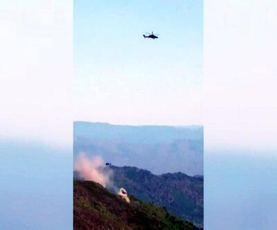 ATAK taarruz helikopteri teröristlerin doçka mevzisini imha etti