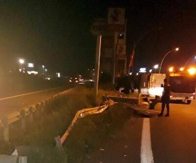 TEM'de TIR devrildi; sürücü yaralandı