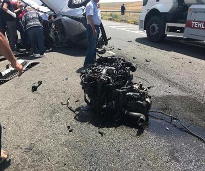 TIR'ın çarptığı otomobilin sürücüsü ağır yaralandı