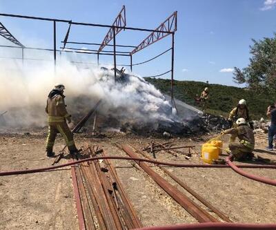 Eyüpsultan'da saman balyaları alev alev yandı