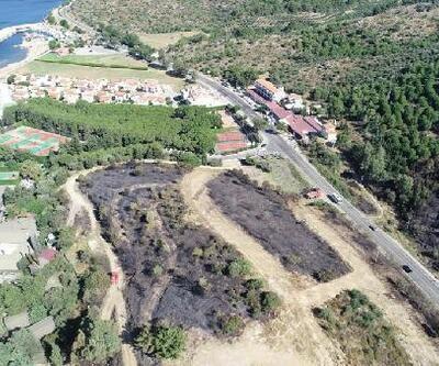 Menderes'teki yangının kül ettiği bölge, havadan görüntülendi