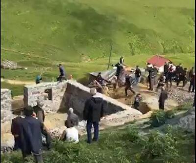 Gümüşhane'de kaçak yapı yıkımında arbede: 5 gözaltı