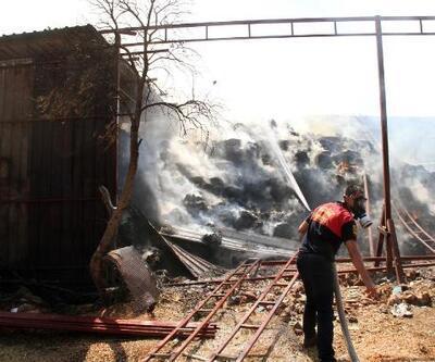 Besi çiftliğinde kaynak yaparken depodaki samanları yaktılar