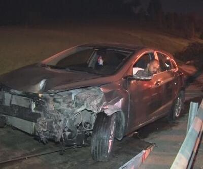Kontrolden çıkan araç 2 otomobile çarptıktan sonra takla atarak durdu: 3 yaralı