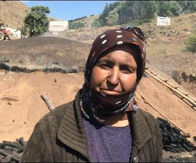 Bayburt'ta işçilerin zorlu mangal kömürü mesaisi