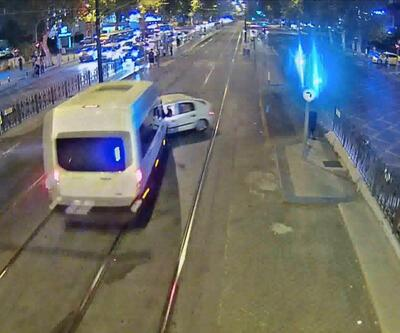 Fatih'te tramvay yolundaki feci kaza kamerada